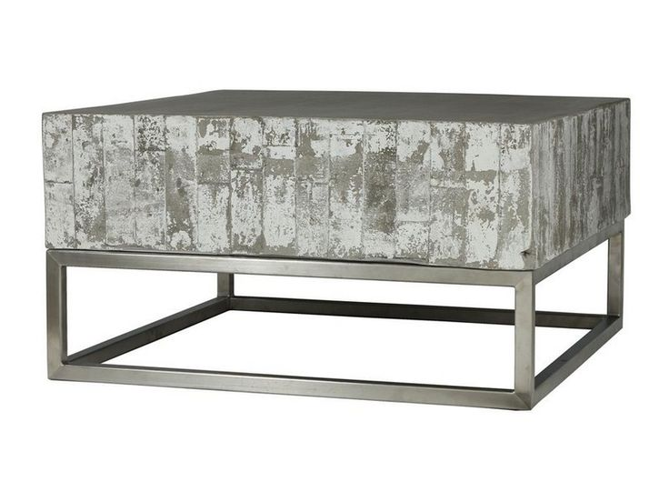 Four Hands Square Constantine Concrete And Chrome Coffee Table Vcns F011 Coffee Tables