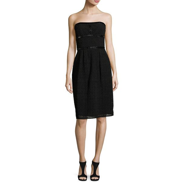 Escada Eve Strapless Lace Cocktail Dress ($3,525) ❤ liked on Polyvore featuring dresses, black, escada dresses, strapless lace dress, pleated dress, lacy dress and strapless cocktail dresses