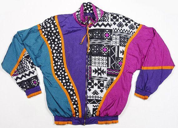 Vintage 90's swag baroque aztec tribal color block Fresh Prince print windbreaker jacket M on Etsy, $44.00