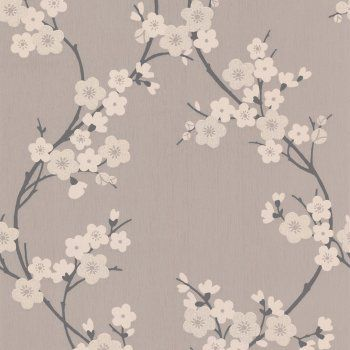 Graham & Brown Cherry Blossom Wallpaper Taupe / Charcoal / Cream