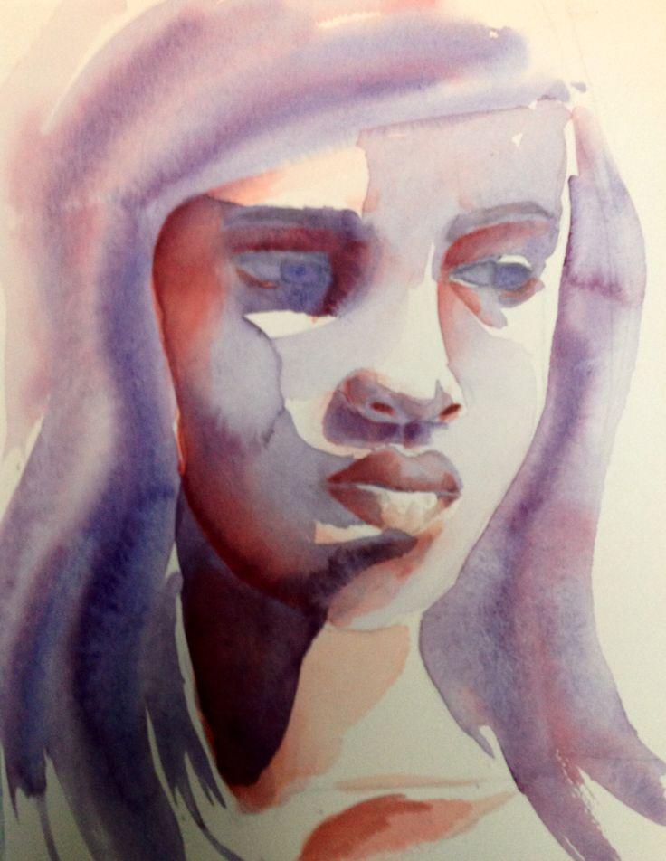 sad girl aquarelle not for sale