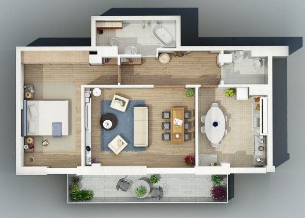 Awesome 3d plans for apartments architecture and design pinterest beautiful - Lay outs idee klein appartement ...