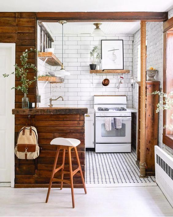 Small Kitchens that prove size isn't everything, like this historic home with a cute small kitchen.