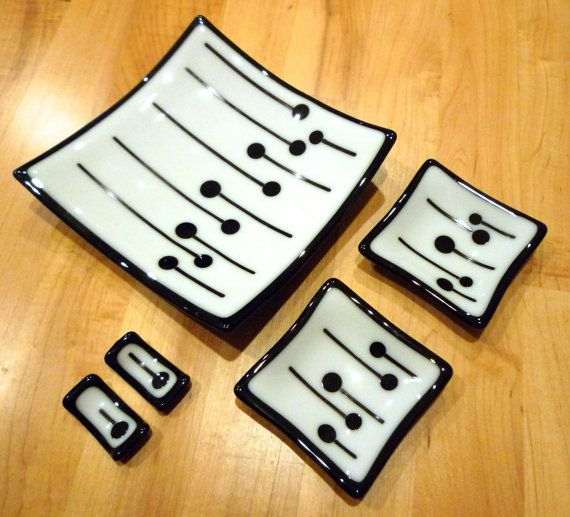 5 Piece Fused Glass Sushi Set White & Black by GlassBySarahAllen, $33.00