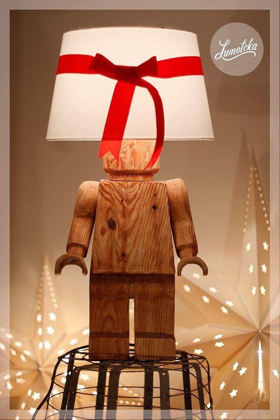 Scandinavian Wooden Lego Table Lamp