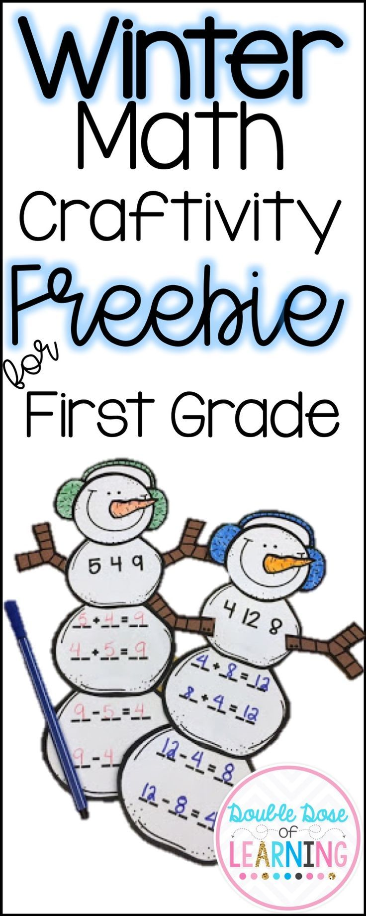 FREE fact families winter math craft for first grade! Double Dose of Learning First grade math addition, subtraction
