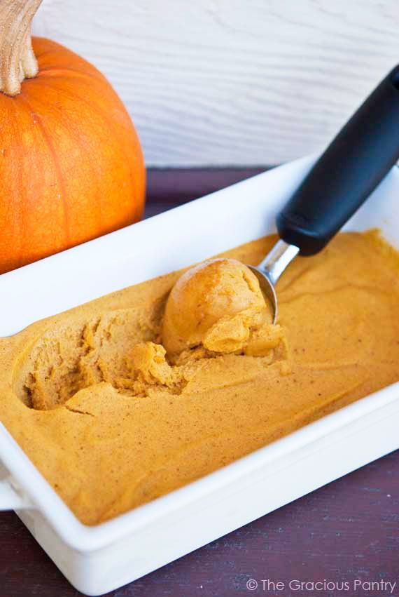 Pumpkin Ice Cream- 4 bananas frozen, 1 cup pumpkin puree, 1/3 cup maple syrup or honey, 1 1/2 tsp pumpkin pie spice, process together and freeze for 24 hours.