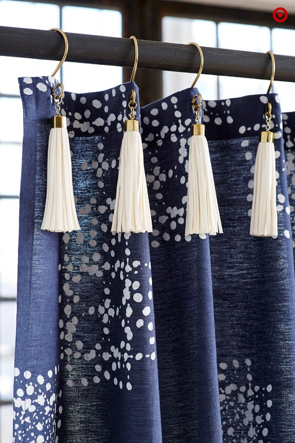 Add some regal flair to your bathroom with these Nate Berkus tasseled shower curtain hooks. It's a fringe element that will have you singing while you bathe.