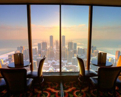 Room with a view, Signature Lounge in Chicago. Bar below the observation deck of Hancock Building. Order Hot Chocolate during the winter.