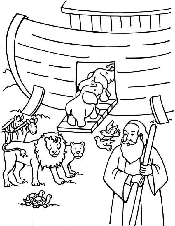 Noah Counting The Animals Before Departing Ark Coloring Page