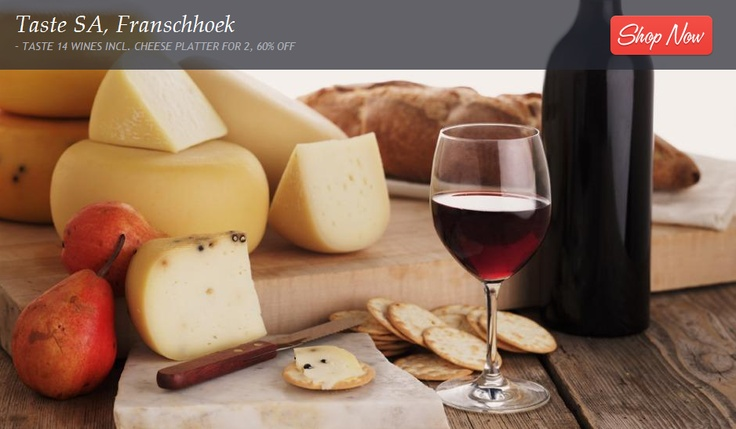 """Escape to Franschhoek: Multi-brand Wine Tasting  Cheese Platter for 2    """"Escape to a fairy tale town filled with gourmands, wine connoisseurs, unique shops and majestic mountains. Here, tucked away in Franschhoek you'll find Taste SA – a bespoke multi-wine tasting gallery that represents more than 700 South African wine estates. The spot to indulge in an expertly led wine tasting  tantalising cheese platter."""""""