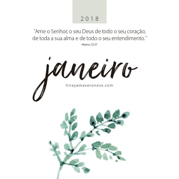 Calendário 2018, janeiro - free download
