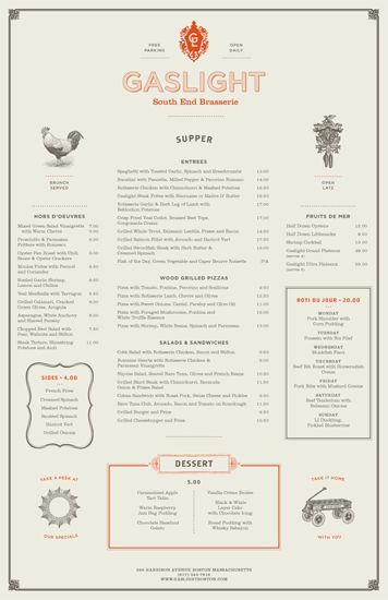 Gaslight Menus. Love it! I always wanted to go there since i live in Boston. I guess the visit will be soon. Gaslight is an American Brasserie in Boston's South End district. Designed at Tank Design.