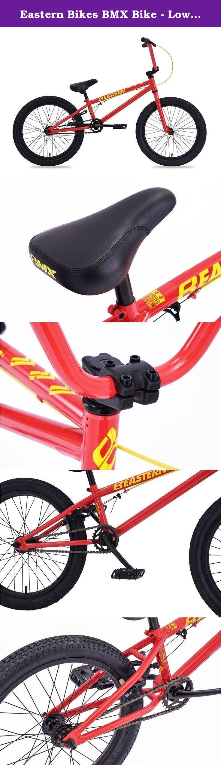 """Eastern Bikes BMX Bike - Lowdown Red, 20"""". The Lowdown 20"""" from Eastern Bikes is an affordable and durable BMX bike. The Lowdown has features you simply won't find on other cheap BMX bikes. Its sealed wheels are a huge deal as they greatly extend the Service life of your bike. Durable frame and fork construction along with comfortable features like riblet grips and a padded seat make the Lowdown an incredible value."""