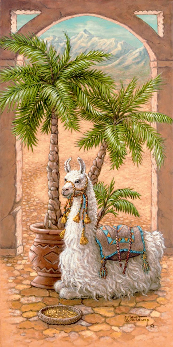 White Llama 1, a painting of a white llama sitting in a royal courtyard next to a potted palm, one of Janet Kruskamp's Original Oils, , by artist Janet Kruskamp
