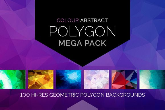 100 Colour Abstract Polygon Backgrounds MEGA PACK by bilmaw creative on @creativemarket