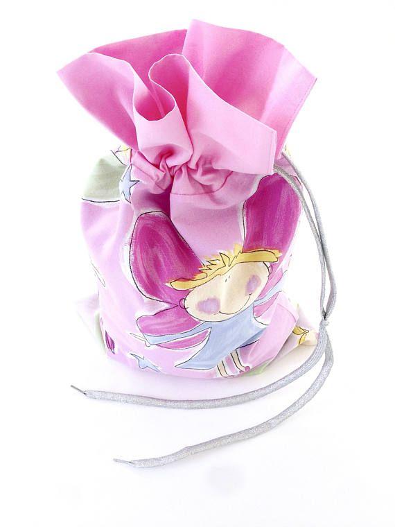 Pink Angel Christmas Sack Small Fairy Santa Sack Drawstring