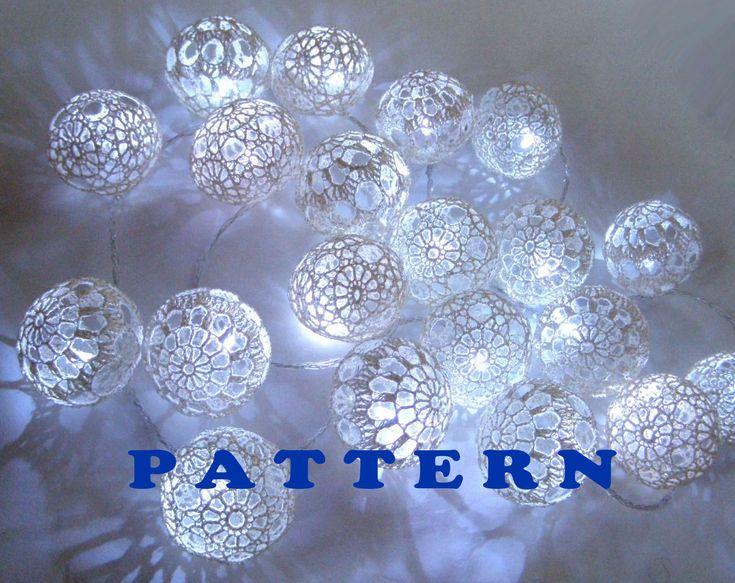 Blue String Lights For Bedroom : Fairy Lights, String Lights, Bedroom Decor lamps, Lace Crocheted balls, Pattern PDF String ...