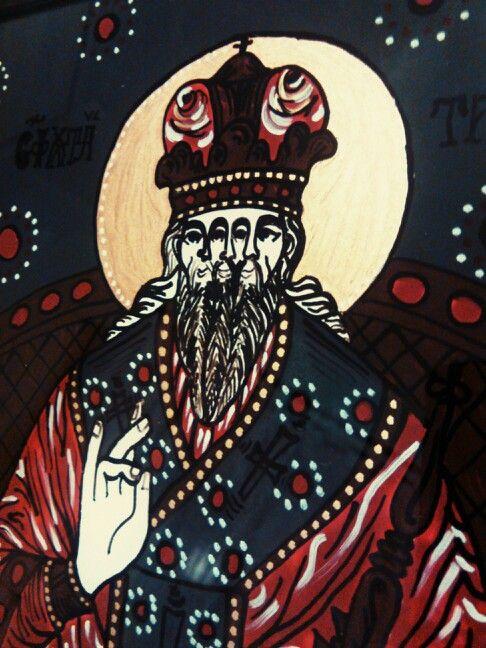 Orthodox romanian icon on glass detail - The Saint Trinity