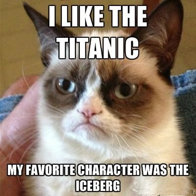 Grumpy kitty loves the Titanic