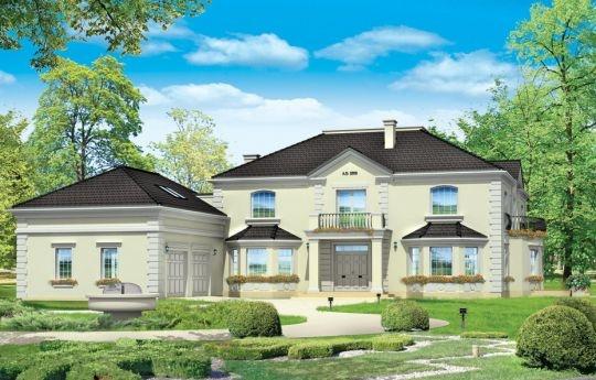 Projekt Regent to elegancka, rozbudowana rezydencja dla szczęśliwców z piękną działką. Projekt domu oprócz basenu ma wszelkie potrzebne funkcje: reprezentacyjny hol z pięknymi schodami, dużą jadalnię i salon, obszerną bibliotekę oraz piękną kuchnię. Przy wejściu zaprojektowano dużą, wygodną szatnię. Na piętrze zaplanowano apartament państwa domu z łazienką i garderobą, oraz dwie dodatkowe sypialnie - z łazienką (wariantowo mogą być też dwie łazienki - osobno dla każdego z pokoi).