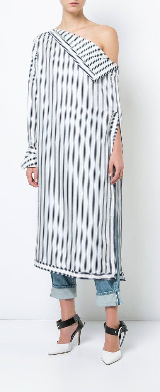 MONSE long striped asymmetric shirt, explore new season now on Farfetch.