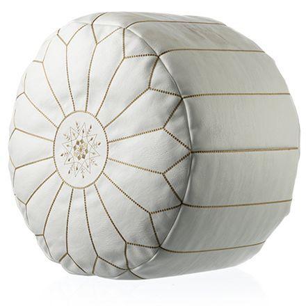 Puf i marokkansk look - Hvid Ø 50 cm   COOP