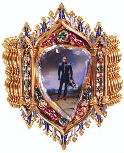 A bracelet containing second largest table-cut diamond (27-carats), over a portrait. Jewels of Romanovs. Russia. 1820