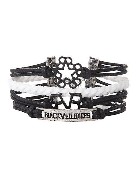 Black Veil Brides Logos Bracelet | Hot Topic OMFG I HAVE THIS!!!!!!!!!!!!!!!!! IT'S REALLY AMAZING YOU NEED TO GET ONE