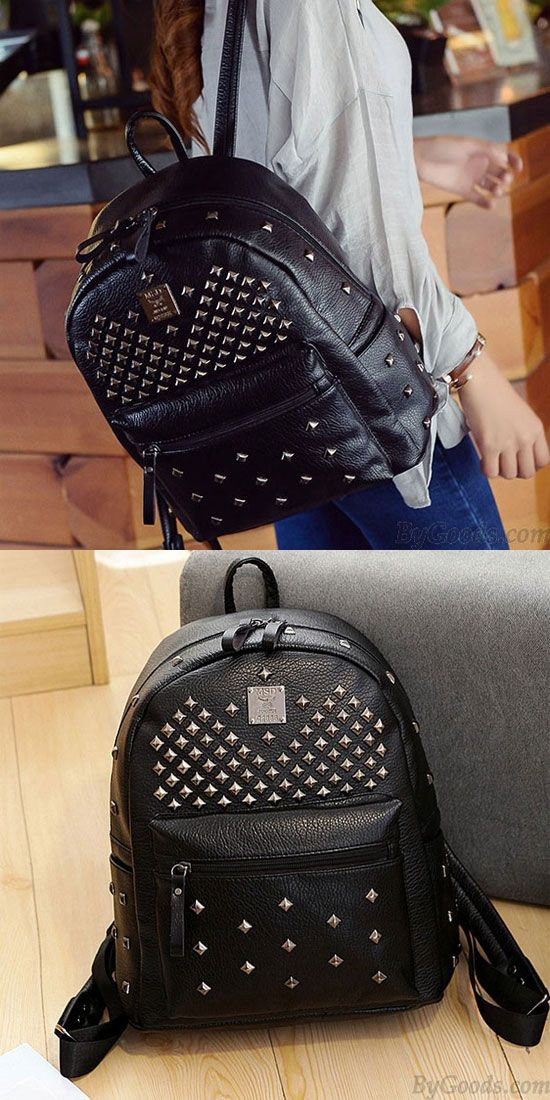372eb9c9cd Punk PU Rivets Lichee Pattern School Bag Girl s Backpack  backpack  Bag   school  rivet