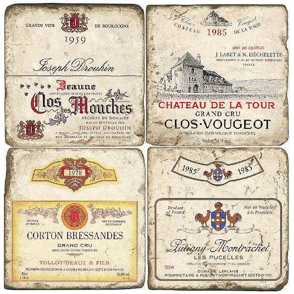 Set of Four French Wines Italian Marble Coasters