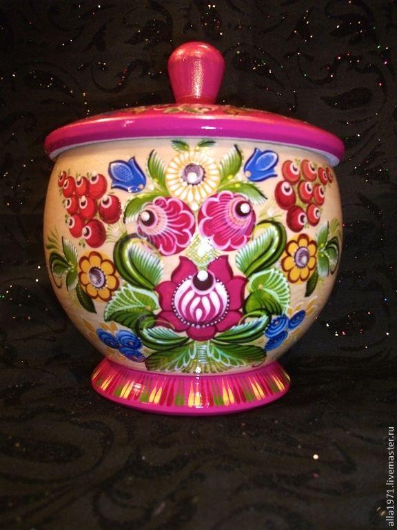 """Купить Сахарница из липы """"ГОРОДЕЦКИЙ БУКЕТ"""" - розовый, сахарница, вазочка, конфетница, русский стиль"""