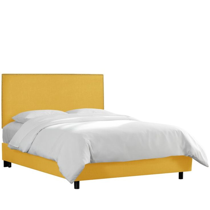 Create a sleek and sophisticated look for your bedroom with this nail button border bed. Upholstered in soft linen, the headboard is highlighted with a row of decorative nail buttons outlining the silhouette. It's constructed with plush foam padding for added comfort. Bed frame and matching upholstered bed panels are included. Mattress and box spring required.