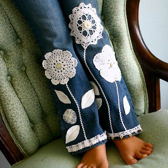 Crochet Embellished Jeans - What a cute way to patch holes in jeans! <**making flowers from a pair of the boys' torn up jeans. using the seams as the stems.**>