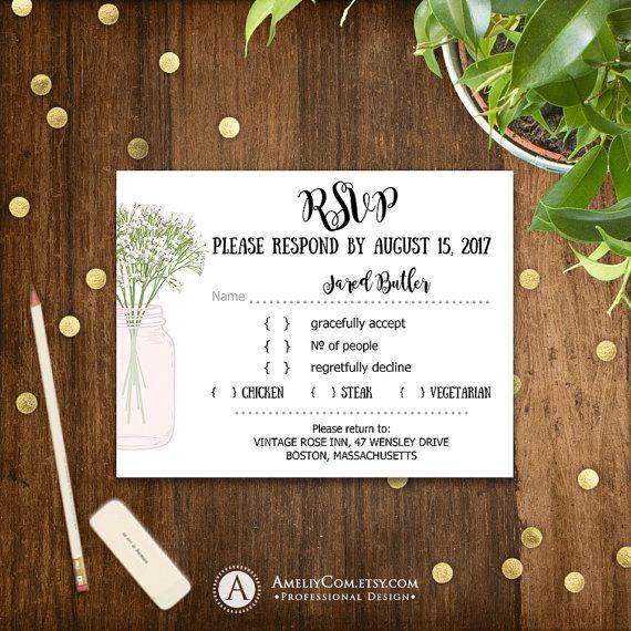 Printable RSVP Card Rustic Mason Jar & Pink Baby's Breath Blush Response Card Instant Download Wedding Reply Card EDITABLE Digital Template
