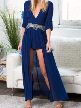 Shop Blue Deep V-neck Roll Up Sleeve Asymmetric Pleat Dress from choies.com .Free shipping Worldwide.$24.99