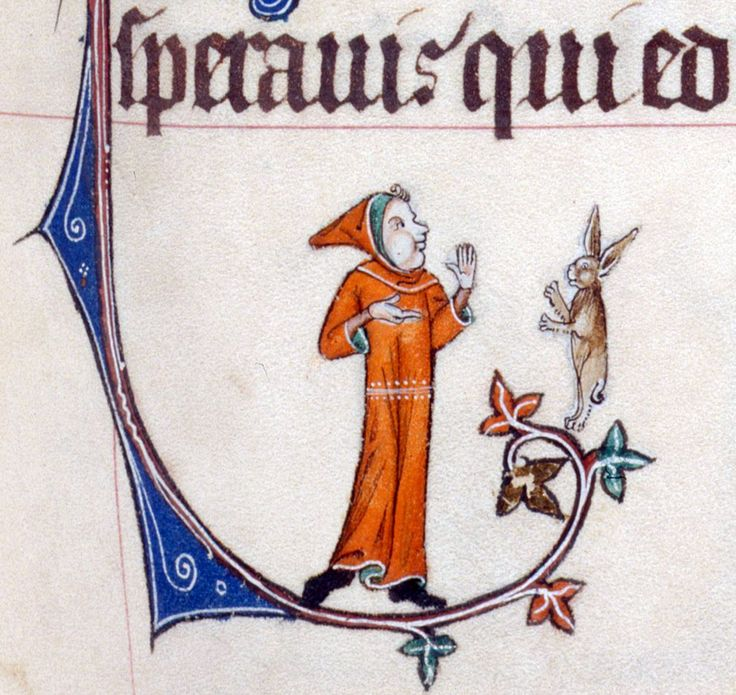 dispute with a rabbit Gorleston Psalter, England 14th century British Library, Add 49622, fol. 56r