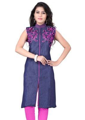 Party Wear Denim Cotton Navy Blue Kurti With Leggings -3352121