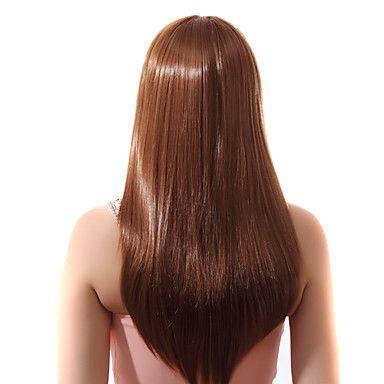 Pizzo frontale lungo rettilineo marrone chiaro misto Parrucche con ventuno per cento dei capelli umani – EUR € 111.99