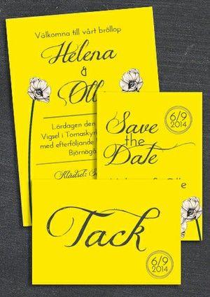 """Paket: """"You make loving fun"""" gul, Save the date, inbjudan & tackkort (värde 507 SEK)"""