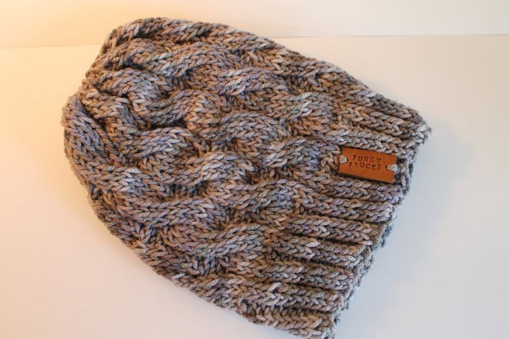 Handmade Grey Gray Marbled Yarn Cable Knitted Slouchy Beanie Hat by FunkieFrocks on Etsy