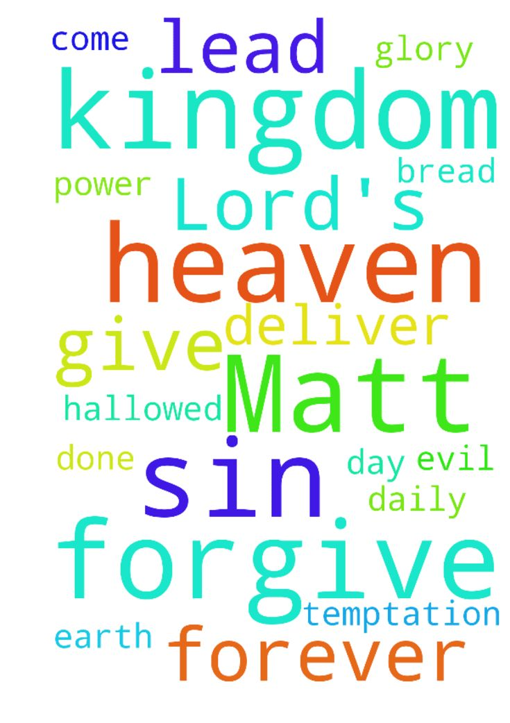 The Lord's Prayer (Matt 6:9-14) - Our Father in heaven, Hallowed be Your Name Your Kingdom come Your Will be done on earth as it is in heaven Give us this day our daily bread And forgive our sins, As we forgive those who sin against us. And lead us not into temptation, But deliver us from evil Its Your Kingdom, Its Your Power and Its for Your Glory, forever Matt 6914. In The Name of Jesus. Posted at: https://prayerrequest.com/t/TqI #pray #prayer #request #prayerrequest