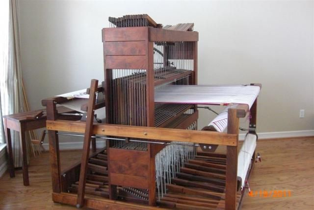 J-Made 16 shaft Walnut loom (J-Made loom.jpg) - This is like my J-Made Loom except I have 3 back beams and 3 worm gears - My favorite loom of the four I own!