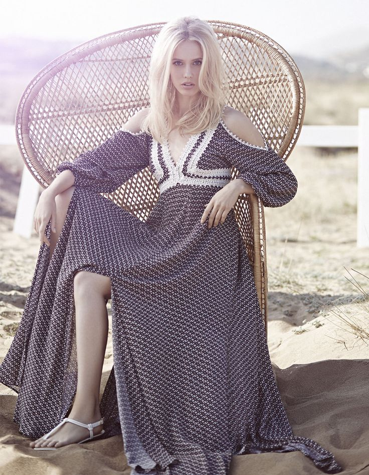 bohemian style, long ethnic dress with lace details, open shoulders