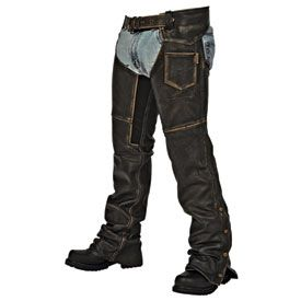 The Milwaukee Crazy Horse Motorcycle Chaps are an all American style that is designed for men and women. The Milwaukee Crazy Horse Motorcycle Chaps are easy to put on and fit comfortably over your jeans. Milwaukee has manufactured these Gunslinger Motorcycle Chaps out of true distressed leather that gives you clean appearance and will last you a long time. So make sure that you are prepared for your open road adventures with the Milwaukee Crazy Horse Motorcycle Chaps. *Unisex chaps. *Me...