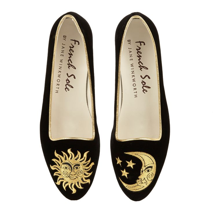 Velvet Opera Slipper in Black. Our beautiful and opulent Opera Shoes are made from luxurious velvet with fine embroidery detail. Opera Shoes have a low slipper vamp and gorgeous metallic heel.