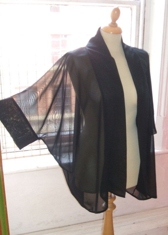 Baylis & Knight Black Chiffon Mid Length KIMONO by BaylisandKnight