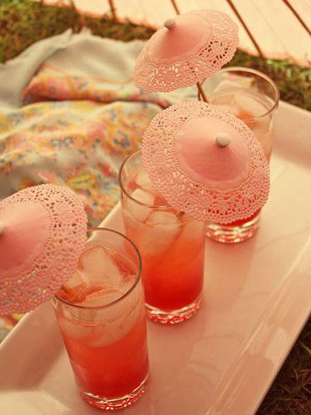 Drink ParasolsUmbrellas, Summer Drinks, Paper Doilies, Parties, Pink Drinks, Crafts Projects, Bridal Shower, Pink Lemonade, Cocktails