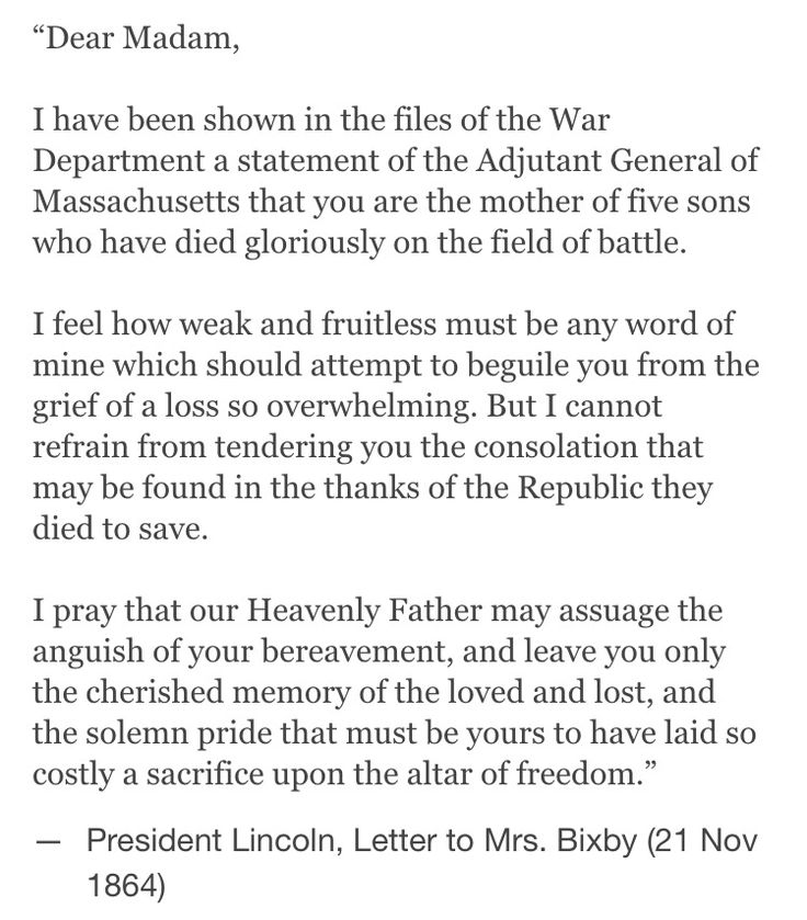 famous letter to mrs bixby after she lost five sons during the war