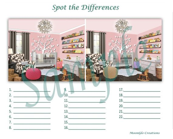 Spot the differences, babys nursery, game sheets.  This is fun to use as a baby shower or birthday party game. See who can find the most